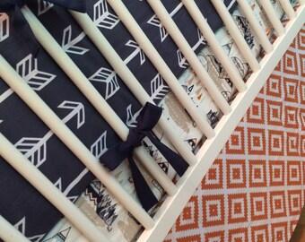 Navy And Orange Crib Bedding Set