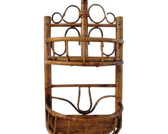 Items Similar To Bamboo Wall Shelf Vintage Bamboo Rattan