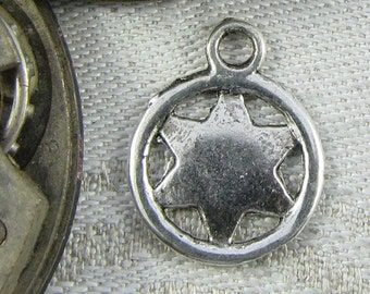 Set of (12) Silver Star 6-points Charms 12 per package SYM041