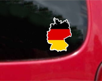 2 Pieces Germany  Outline Map Flag Vinyl Decals Stickers Full Color/Weather Proof. U.S.A Free Shipping
