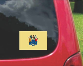 2 Pieces New Jersey   State Flag Vinyl Decals Stickers Full Color/Weather Proof. U.S.A Free Shipping