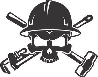 Set (2 Pieces) Oil Field Roughneck Skull Sticker Decals 20 Colors To Choose From.  U.S.A Free Shipping