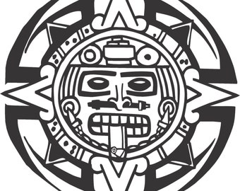 Set (2 Pieces) Tribal Aztec Calendar Sticker Decals 20 Colors To Choose From.  U.S.A Free Shipping