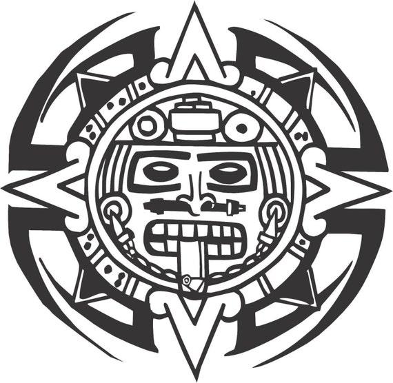 Set 2 pieces tribal aztec calendar sticker decals 20 colors for Aztec mural tattoos