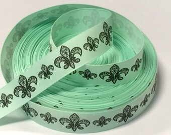 7/8 inch Floral Pattern on Mint Green   -  Printed Grosgrain Ribbon for Hair Bow