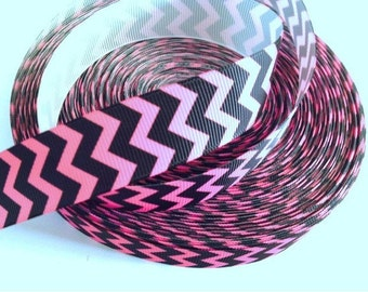 7/8 inch Pink and Black Chevron - Printed Grosgrain Ribbon for Hair Bow