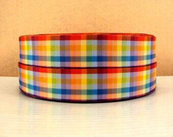 7/8 inch RAINBOW PLAID - Printed Grosgrain Ribbon Preppy - Printed Grosgrain Ribbon for Hair Bow