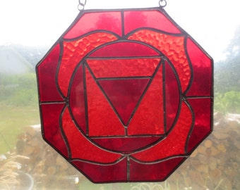 Root Chakra Reiki Meditation Stained Glass Suncatcher