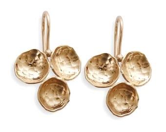 14K  hammered gold earrings, rose gold earrings, for woman, everyday earrings, clover earrings, bridal earrings, gold wedding earrings, Sale