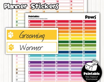 Pet Planner Stickers Printable, Printable Planner Stickers Pet, Dog paw Print, Cat Paw Print, Planner Stickers Download, PDF, Colourful