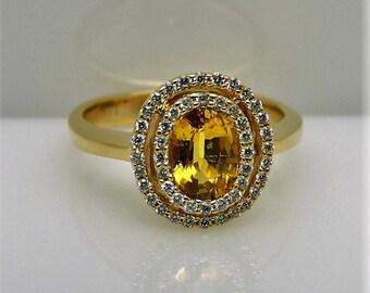 Lady's Yellow 14 Karat Fashion Ring Size 5 With One Yellow Sapphire And  Round Diamonds