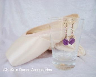 Amethyst and lilac beads earrings