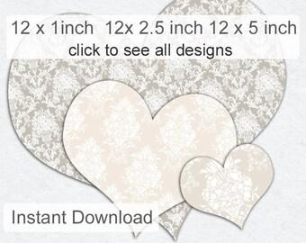 Heart Clipart - Damask Hearts - Printable Hearts -  Pale Damask Hearts Clip Art (HC1)