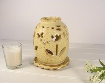 Tulip Candle lantern, Pottery luminary, Pottery Lamp, Pottery Gift.