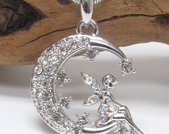 Crystal Tinkerbell Fairy Pixie on the Moon  White Gold Plating Handmade Pendant Necklace