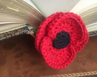 Poppy crochet bookmark / brooch / hair clip