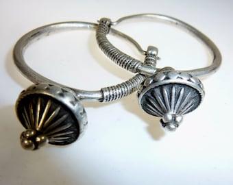 Afghani Sterling Silver Hoop Earrings, Vintage Kuchi Earrings, Antique Afghani Poppy Earrings