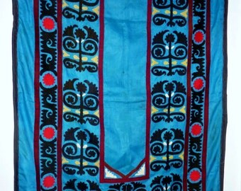 Suzani, Handembroidered Blue Wallhanging, Uzbek Embroidery, Vintage