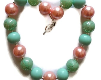 Mint Bubblegum Necklace Pink Necklace Peach Chunky Necklace Pink Beaded Necklace Peach and Mint Necklace Girl's Birthday Jewelry Unique Gift