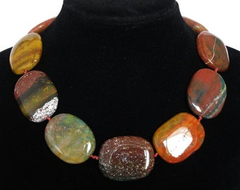 Necklace Colorful Blood Stone Same as Photo 40mm Smooth 925 NSBS6042
