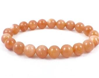 Sunstone Bracelet ~ Peach ~ 8mm ~ Spiritual Healing Bracelet