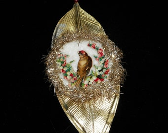 Antique Scrap Bird Ornament on Vintage Gold Leaf with Glass Bead and Cotton Batting