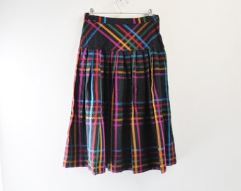 70s Rainbow Plaid Pleated Drop Waist Wool Midi Skirt