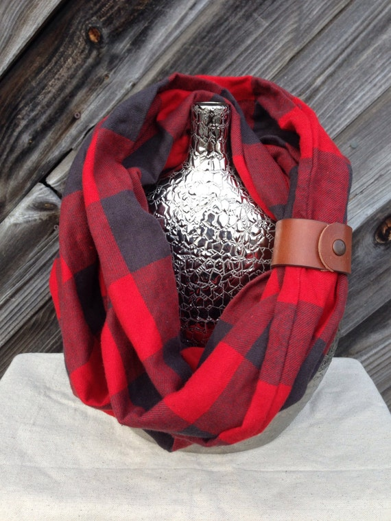 Black and Red Buffalo check plaid flannel eternity scarf with a brown leather cuff - soft, trendy