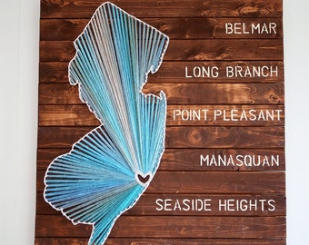 New Jersey String Art with NJ Beach Towns Wood Wall Art