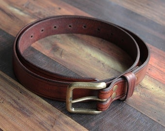 "Brown Handmade Leather Belt 1"" 1/4"