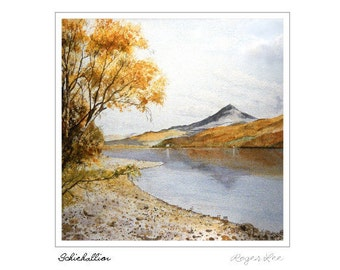 Watercolour landscape card of Scottish mountain - Scotland landscape greetings cards - Scottish landscape painting - Scotland greeting card