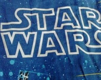Vintage Star Wars Bedspread Sham Fabric GIANT Chewbacca Han Solo C3PO R2D2