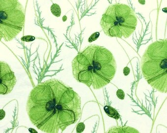 "Hannah's Poppy D Liberty Fabric tana lawn 10"" x 10"" square (25,4 cm x 25,4 cm) white green The Weavers Mill"