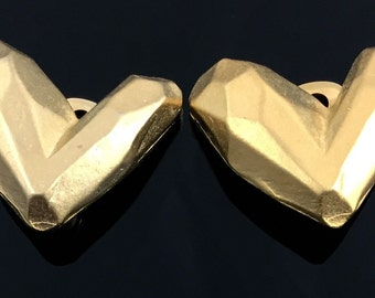 Gold Abstract Heart Earrings - Vintage 1980s Haute Couture Look Asymmetric Heart Earrings