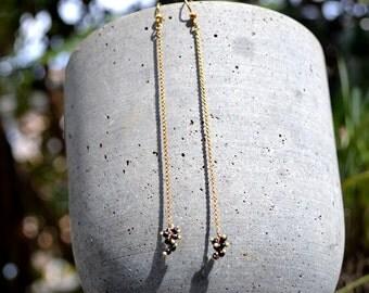 Silver earrings law balls chain