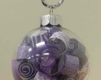 glass filled rolled paper ornament - great gift or wedding favor!