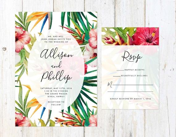 Tropical flowers wedding invitation destination wedding for Tropical wedding invitations