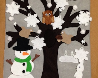 Felt Winter tree mat/board/story buttoning, velcro and snap on activity