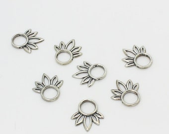 Bead frame lot of 7 pieces made of 925e sterling silver 20 x 17 mm, put your gemstone or... in the center - fits 7mm beads or less