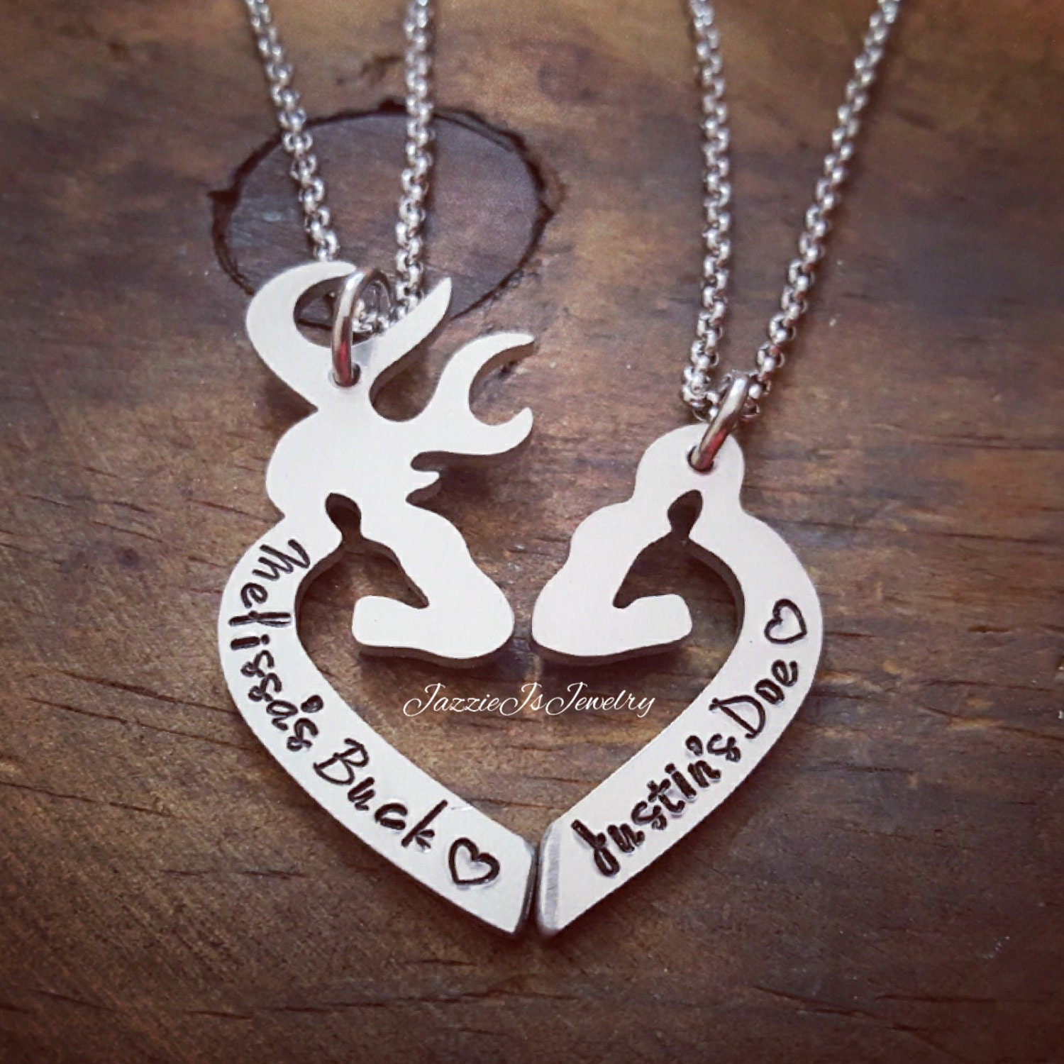 Personalized Her Buck His Doe Necklace Set Personalized Gift