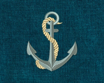 Anchor Embroidery Design, Anchor Machine Embroidery Digitized Pattern, Navy, Instant download 011
