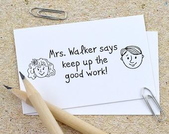 Custom Teacher Stamp, Self Inking Teacher Stamp, Custom Rubber Stamp, Wooden Stamps, Teaching kids, Graduation, Personalized Stamp