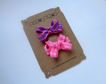Baby Toddler Tiny Boutique Bow Clip Set - Pink - Purple