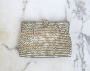 1960s Vintage Silver Beaded Clutch Purse