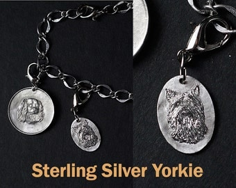 Yorkshire Terrier, Solid Sterling Silver Pendant, Small Oval, Borderless