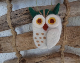 Needle felted white owl