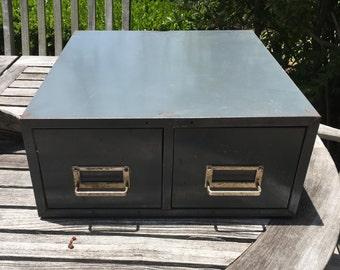 Vintage Gray Metal 2 Drawer File