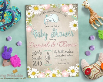 Our Little Peanut Invitation / Digital Printable Baby Shower Invite / DIY Party