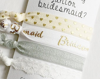 will you be my junior bridesmaid? - junior bridesmaid - gift - hair ties - headbands - bridal party - bridesmaid  - personalized - custom