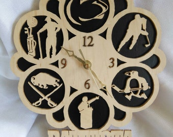 Custom wooden clock with name and 6 items that you choose.
